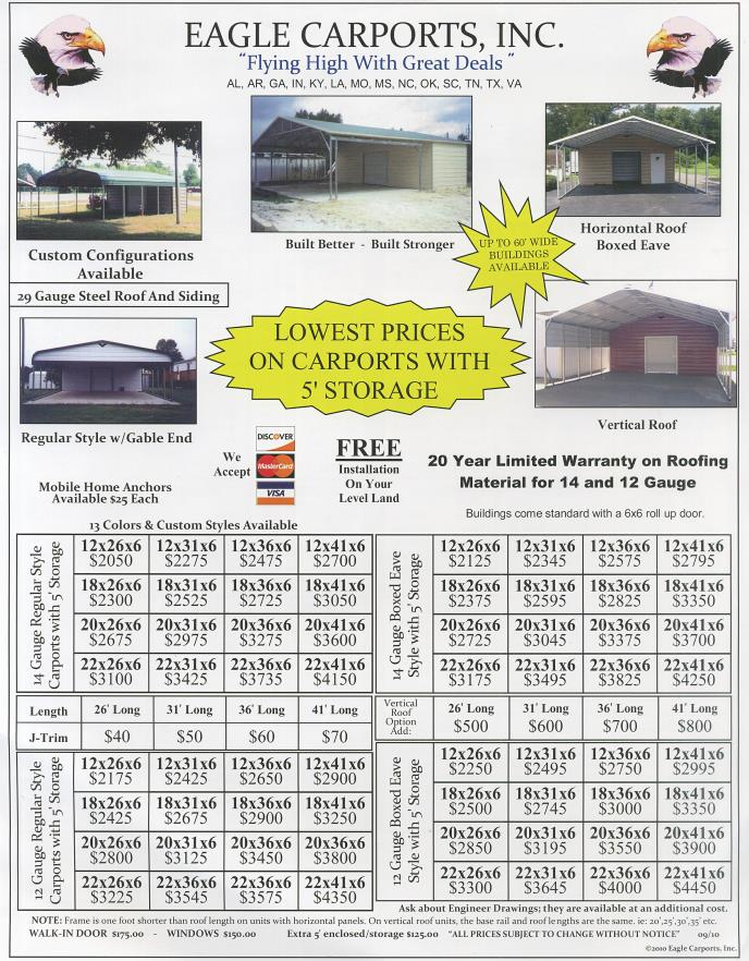Pricing On Carports With Storage Combo Garages